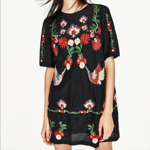 Zara Dresses & Skirts - Sold Out Rare Zara Black Embroidered Short Dress S